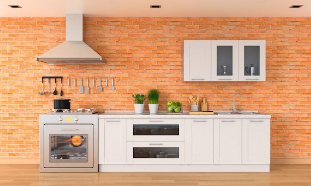 Controsoffitto cucina moderna con fornello a gas e lavello Foto Premium