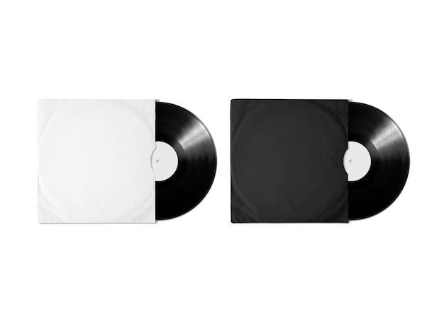 Copertina dell'album in vinile nero bianco bianco Foto Premium