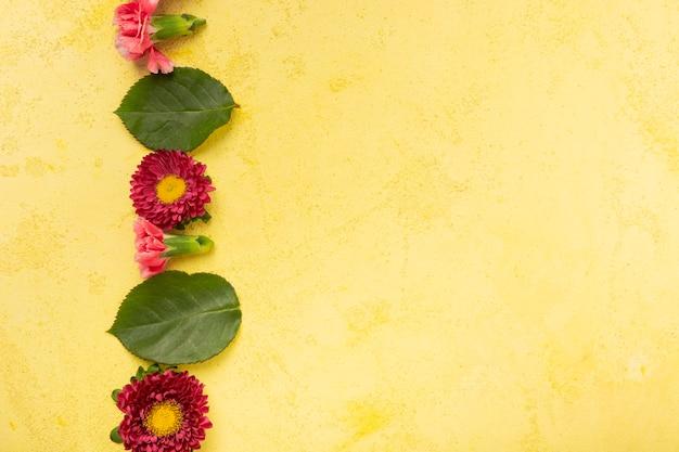 Copia spazio sfondo giallo con striscia di fiori e foglie Foto Gratuite