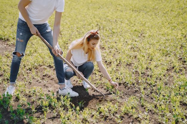 Coppia agricoltura in campo agricolo Foto Gratuite
