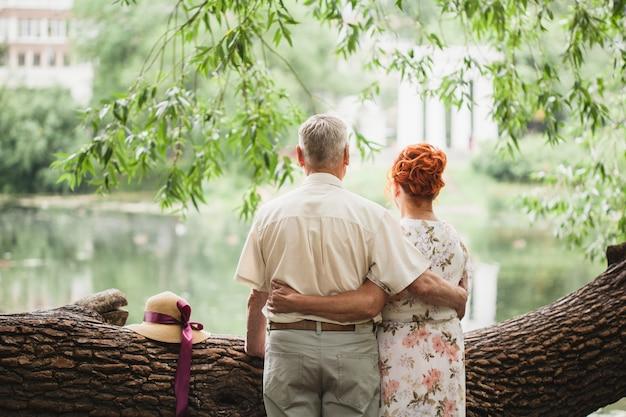 Coppia di anziani che camminano nel parco, amanti, amore fuori dal tempo, passeggiate estive Foto Premium