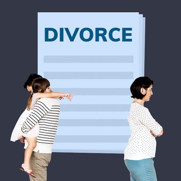 Coppia sposata con una figlia che ottiene un divorzio Foto Premium