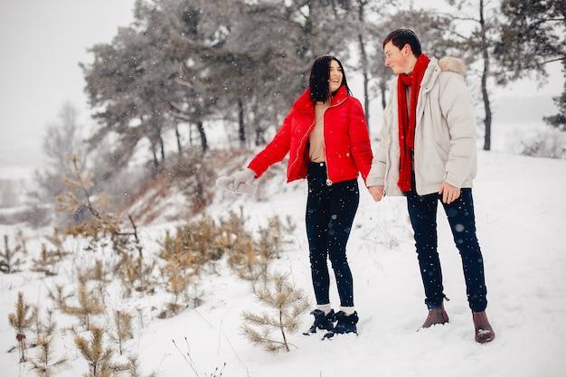 Coppie amorose che camminano in un parco di inverno Foto Gratuite