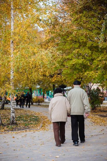 Coppie anziane che camminano nel parco di autunno Foto Premium