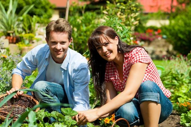 Coppie sorridenti che lavorano nel loro orto Foto Premium
