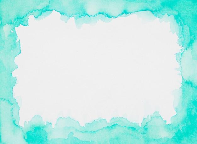 Cornice acquamarina di vernici su foglio bianco Foto Gratuite