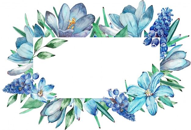 Cornice ad acquerello di fiori primaverili blu. illustrazione. Foto Premium