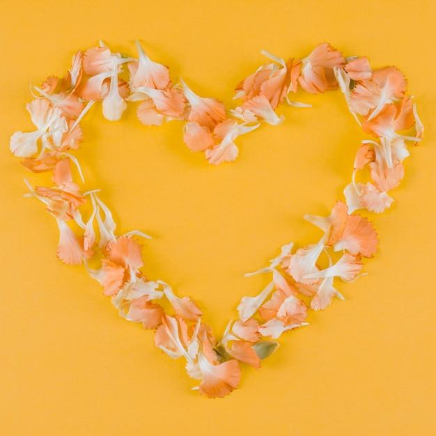 Cornice cuore petali vista dall'alto Foto Gratuite