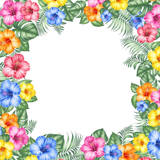 Cornice di fiori esotici Foto Premium