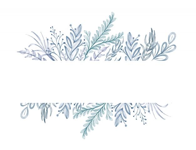 Cornice di foglie blu dell'acquerello Foto Premium