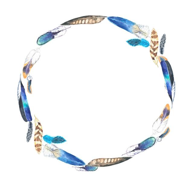 Cornice di piume colorate dell'acquerello. Foto Premium