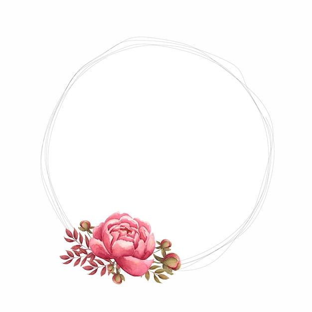 Cornice floreale con fiori di peonia acquerello, bocciolo e foglie dipinte a mano. Foto Premium