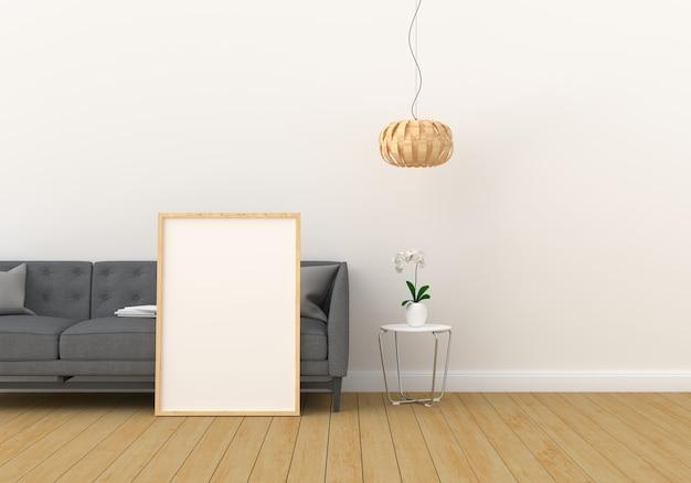 Cornice in bianco per il modello in salone moderno Foto Premium