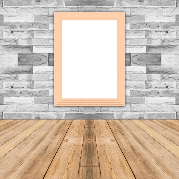 Cornice in legno cornice vuota appoggiata al muro di for Cornice foto legno
