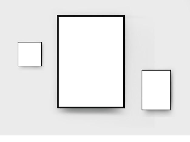 Cornice in legno nero sulla parete della stanza bianca Foto Premium