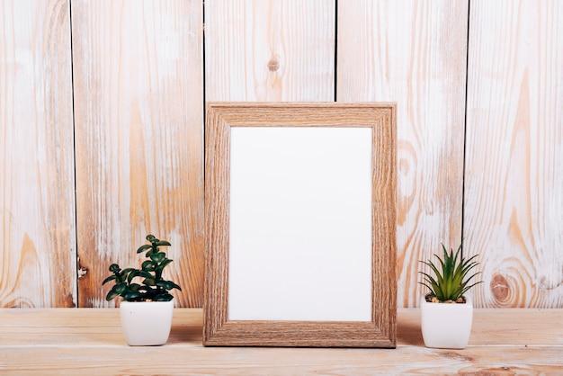 Cornice per foto in bianco con due piante succulente oltre a tavola di legno Foto Gratuite