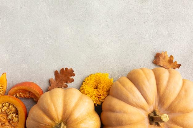 Cornice piatta con zucche e foglie Foto Gratuite