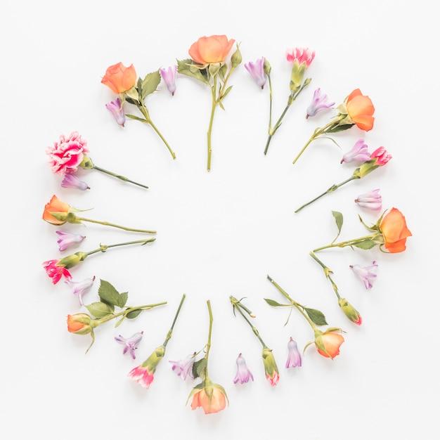 Cornice rotonda da diversi fiori sul tavolo Foto Gratuite