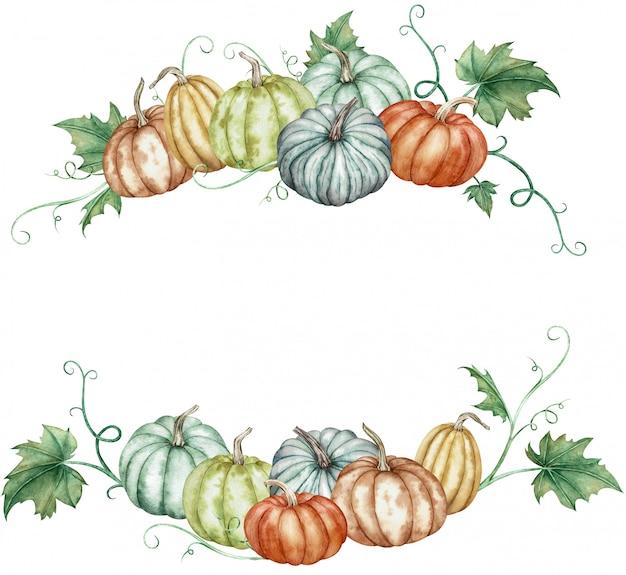 Cornice rotonda dell'acquerello con zucche colorate e foglie verdi. illustrazione botanica d'autunno. Foto Premium