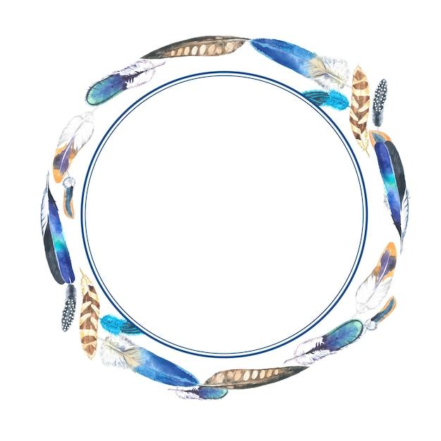 Cornice rotonda di piume colorate dell'acquerello. Foto Premium