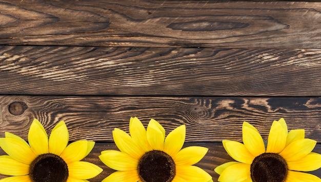 Cornice vista dall'alto con girasoli e copia-spazio Foto Gratuite