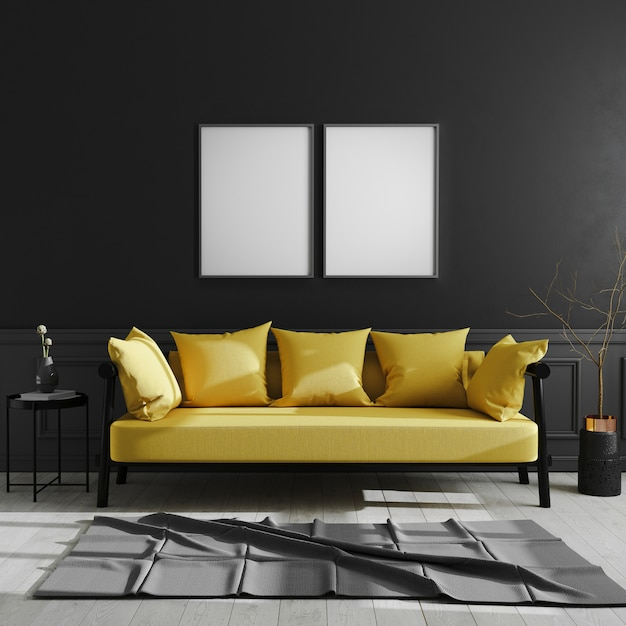 Cornice vuota sul muro nero, due frame poster verticale mock up in interni moderni scuri con divano giallo, stile scandinavo, interni di casa di lusso, rendering 3d Foto Premium