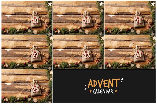 Cornici di legno con il concetto di numeri in sacchetto per il calendario dell'avvento Foto Gratuite