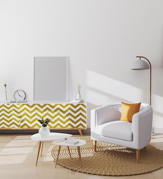 Cornici vuote in elegante salotto scandinavo interno dell'appartamento moderno con poltrona bianca e cuscino giallo, tavolino e armadi, soggiorno mockup, rendering 3d Foto Premium