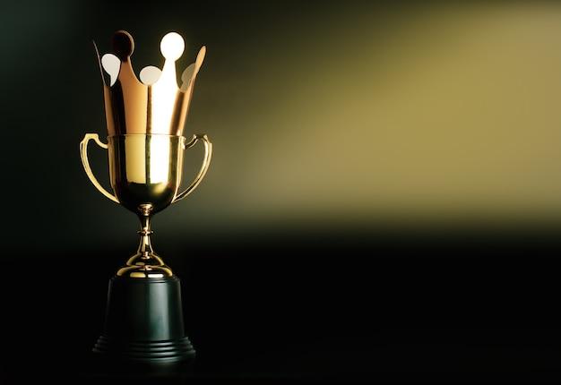 Corona dorata di cartone in cima al trofeo d'oro campione. Foto Premium