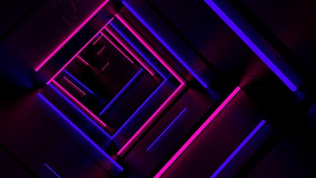Correndo nel tunnel di luce al neon Foto Premium