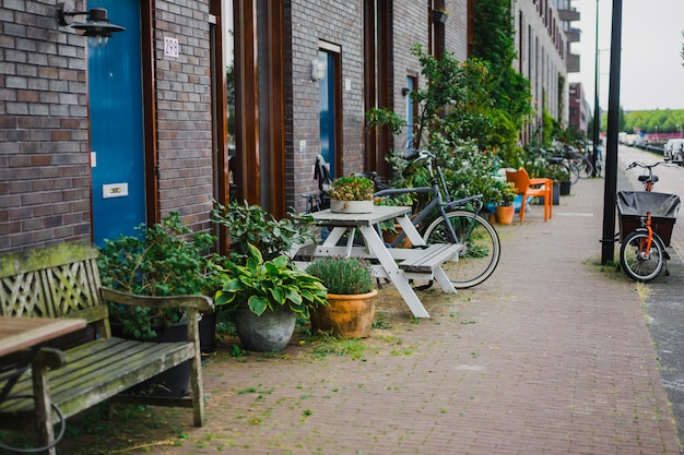 Cortili accoglienti di amsterdam, panchine, biciclette, fiori in vasche. Foto Gratuite