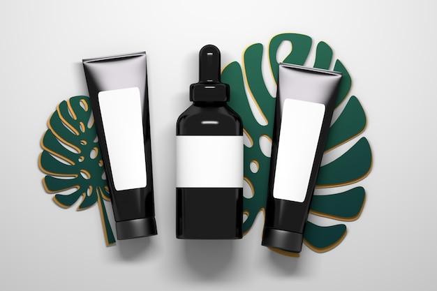 Cosmetici nero lucido tubi e bottiglia di siero con contagocce liquido che poggia su grandi foglie di piante monstera Foto Premium