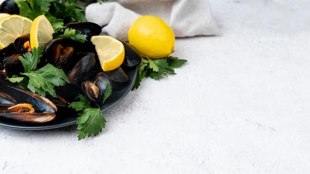 Cozze mediterranee fresche con lo spazio della copia Foto Gratuite