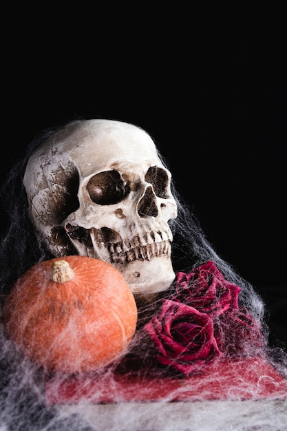 Cranio umano con rose e ragnatela Foto Gratuite