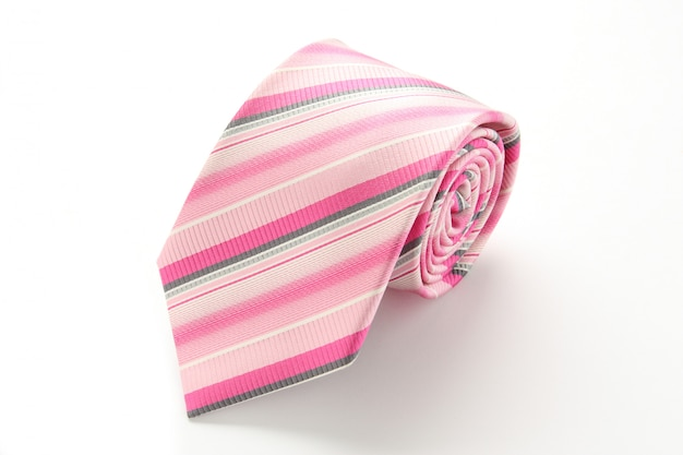 Cravatta a strisce rosa isolato su sfondo bianco Foto Premium