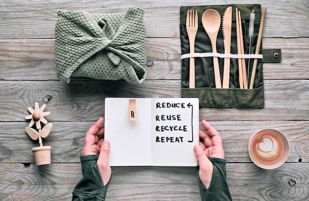 Creativo piatto lay, zero spreco pranzo con set di posate in legno riutilizzabili, scatola per il pranzo in tessuto e tazza di caffè riutilizzabile. stile di vita sostenibile, le mani tengono nota