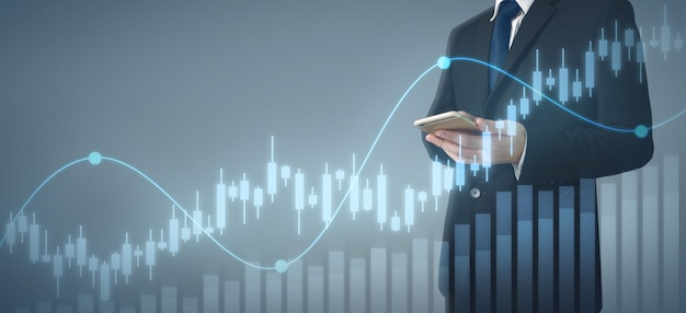 Crescita del grafico di piano dell'uomo d'affari e aumento dell'affare del grafico. Foto Premium