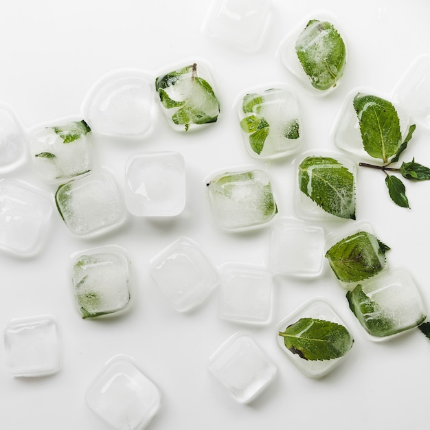 Cubetti di ghiaccio e foglie Foto Gratuite