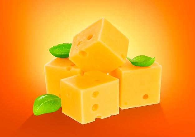 Cubo di formaggio isolato. con tracciato di ritaglio. Foto Premium