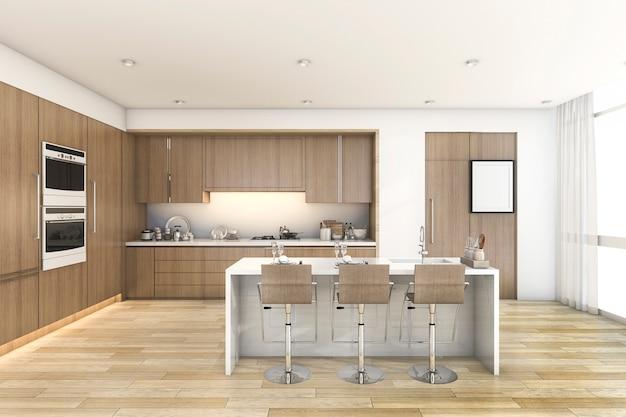 Cucina della barra di legno della rappresentazione 3d vicino alla finestra Foto Premium