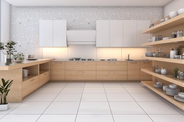 Cucina in legno loft rendering 3d con bar e zona living Foto Premium