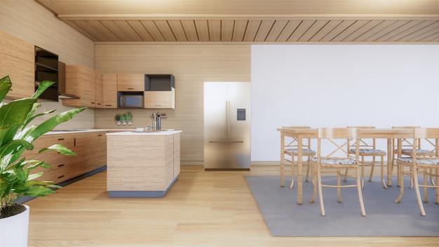 Cucina in stile giapponese. rendering 3d Foto Premium