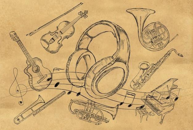 Cuffie sketch strumenti musicali su carta marrone Foto Gratuite