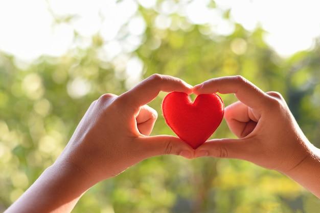 Cuore in mano per il concetto di filantropia - donna con cuore rosso in mano per san valentino o donare aiuto dare amore calore prendersi cura Foto Premium