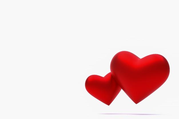 Cuore rosso 3d rendering di sfondo per san valentino, cuore rosso il giorno dell'amore Foto Premium