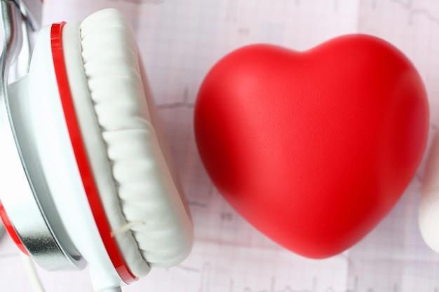 Cuore rosso del giocattolo heaphones sul cardiogramma di carta Foto Premium
