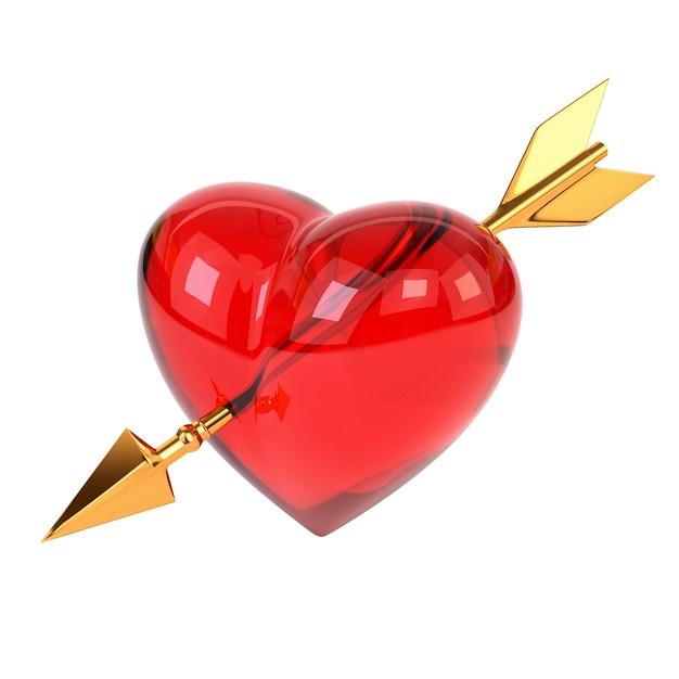 Cuore rosso trapassato da una freccia d'oro isolato su sfondo bianco. freccia di cupido. Foto Premium