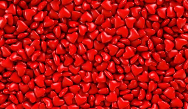 Cuori rossi in una scatola. trama di sfondo di cuori. illustrazione di rendering 3d. san valentino. Foto Premium