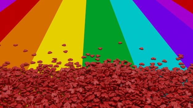 Cuori su sfondo arcobaleno Foto Gratuite