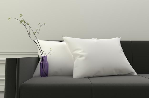 Divano Nero Cuscini : Cuscini bianchi e piante sul divano nero rendering d scaricare